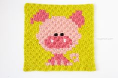 This little piggy, my Zoodiacs pig c2c crochet graph piggie, is headed out to a craft store to get more yarn to make more little piggies.