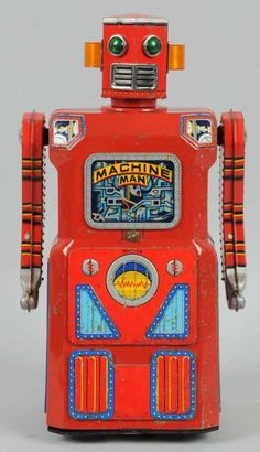 Tin Litho & Painted Machine Man Robot. One of the gang of five. #Robot, #ModernToys, #Toy