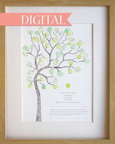 DIGITAL download. Fingerprint tree teachers gift, classroom gift, thank you card, graduation gift, A4 print Digital download, print at home.