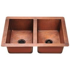 Polaris Sinks P209 Double Equal Bowl Copper Sink | Overstock™ Shopping - Great Deals on Polaris Sinks Kitchen Sinks $1118