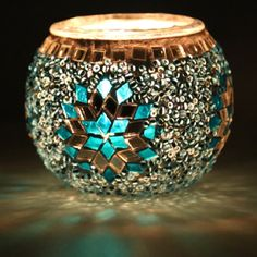 Multi Color Turkish Mosaic Candle Holder by anatolanmosacbazaar, $15.00