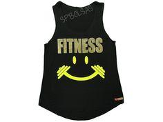 Regatas Femininas   Regata Cavada Longa Fitness Smile Preta  Acesse: http://www.spbolsas.com.br/atacado/ #Regatas #Femininas #Atacado