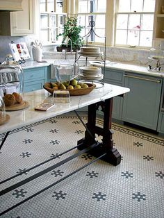 kitchen floor tile from American Restoration Tile. Floor looks awesome, but so m. kitchen floor tile from American Restoration Tile. Floor looks awesome, but so much work! Kitchen Floor Tile Patterns, Bathroom Floor Tiles, Kitchen Tiles, Kitchen Flooring, New Kitchen, Vintage Kitchen, Kitchen Decor, Wall Tiles, Kitchen Yellow