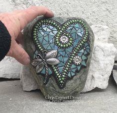 Blue-Green Dragonfly Mosaic Heart Mosaic Rock Mosaic Garden