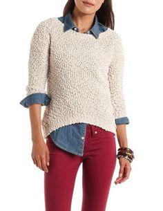 Popcorn Knit Hi-Low Sweater: Charlotte Russe