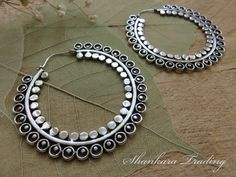 Indian Tribal Earrings Gypsy Hoop Earrings by ShankaraTrading