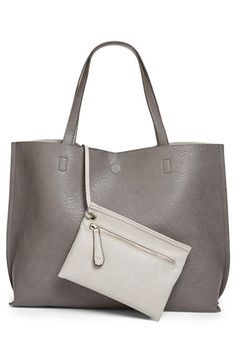 Street Level Reversible Faux Leather Tote & Wristlet available at #Nordstrom (black and cognac)