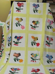 Folk art birds applique quilt, probably 1955