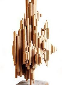VintageModSSF - Mid-century Modern Abstract Wooden Sculpture -SOLD- ~ I don't know about ya'll but I see cardboard tubes! Sculpture Lessons, Sculpture Projects, Art Sculpture, Abstract Sculpture, Art Projects, Abstract Art, Cardboard Sculpture, Cardboard Paper, Cardboard Crafts