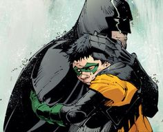 Damian Wayne and Bruce hugging. This makes me smile. The way Damian clings to him, and Bruce just holds him so tightly, cradling the back of his head with his hand. Bruce has the faintest smile on his cheeks, and this is by far one of my favorite scenes of Death of the Family. Bruce loves his baby so much.