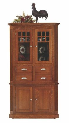 Corner hutch amish and royals on pinterest for Mission style corner hutch