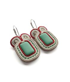 Turquoise and Red Earrings Turquoise and Red Jewelry Red and Turquoise Earrings Red and Turquoise Wedding Mint and Red Statement Earrings