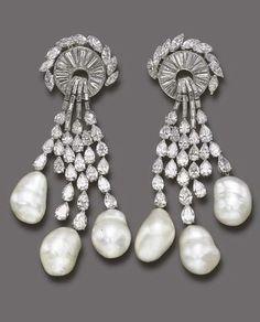 Van Cleef & Arpels A SPECTACULAR PAIR OF DIAMOND AND CULTURED PEARL EAR PENDANTS, BY VAN CLEEF…