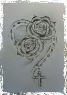 tato ikan koi, heart and flower tattoo, Bild Tattoos, Dope Tattoos, Pretty Tattoos, Beautiful Tattoos, Body Art Tattoos, Sleeve Tattoos, Rose Drawing Tattoo, Tattoo Design Drawings, Drawing Art