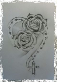 tato ikan koi, heart and flower tattoo, Dream Tattoos, Mom Tattoos, Future Tattoos, Body Art Tattoos, Sleeve Tattoos, Tattoos For Women, Rose Drawing Tattoo, Tattoo Drawings, Drawing Art