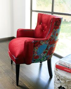 rich red velvet. love the turquoise floral print on back.
