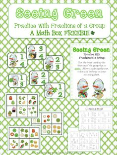 Here's a set of St. Patrick's day themed materials for working on fractional part of a set. Includes six sorting mats, eighteen treat cards, and a recording sheet.