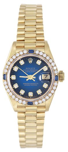 Rolex Ladies President with diamond & sapphire bezel and blue diamond dial http://www.demesy.com/p/50832P.html