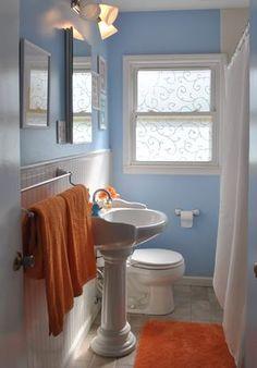House tour: orange & blue on drake bathroom colors-blue & or Burnt Orange Bathrooms, Orange Bathroom Decor, Bathroom Colors Blue, Orange Bathroom Accessories, Beige Bathroom, Modern Bathroom Decor, Bathroom Wall Decor, Grey Bathrooms, Small Bathroom