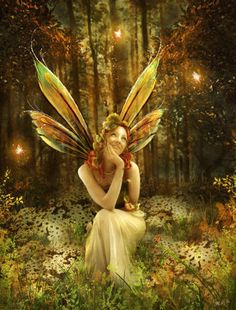 Fairies, nymphs, woodland creatures, mystical, light, elemental.