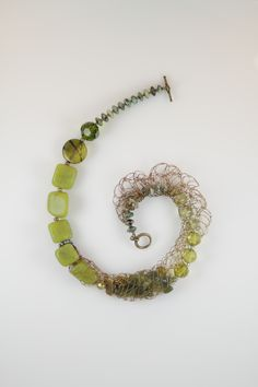 Woven wire and lemon jade necklace
