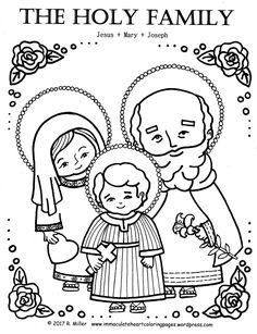 The Holy Family Coloring Page, Feast of Saint Joseph, Jesus Mary Joseph, Saint Joseph's Altar Table