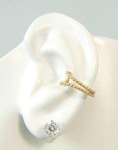 Ear Cuff, Gold Ear cuff, Non-pierced, Cartilage Wrap, Earring Fake Conch, No Piercing, Cuff Earring, Faux Pierced Hoop Double Beaded EDBGF
