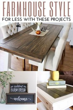 Get the Farmhouse look in your home for less with these DIY and craft projects. Farmhouse Furniture, Farmhouse Decor, Farmhouse Style, Do It Yourself Decorating, Decorating Your Home, Easy Diy Projects, Craft Projects, Furniture Projects, Handmade Home Decor
