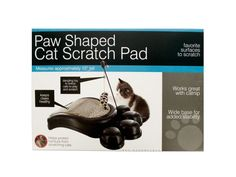 """Paw Shaped Cat Scratch Pad with Dangle Toy, 4 - Give cats a place to have fun and keep their claws healthy while protecting your furniture with this cute 10"""" Paw Shaped Cat Scratch Pad. Includes a dangling toy on a pole to entice cats to play and scratch."""