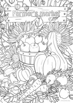 Farmer's Market - Printable Adult Coloring Page from Favoreads (Coloring book pages for adults and kids, Coloring sheets, Colouring designs) Vegetable Coloring Pages, Food Coloring Pages, Coloring Pages For Grown Ups, Spring Coloring Pages, Adult Coloring Book Pages, Printable Adult Coloring Pages, Flower Coloring Pages, Coloring Pages To Print, Free Coloring