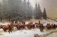 """""""Colonel Knox Bringing the Cannons From Fort Ticonderoga to the Siege of Boston"""", by John Ward Dunsmore."""