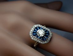 French Art Deco Diamond Sapphire Engagement Ring | From a unique collection of vintage engagement rings at http://www.1stdibs.com/jewelry/rings/engagement-rings/