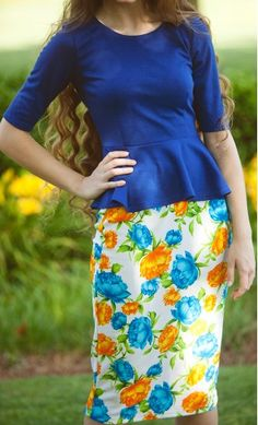 Farrah womens mid length floral print pencil skirts matched with solid royal blue peplum blouse! #pentecostal #setideas