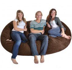 8' Huge Chocolate Brown SLACKER sack Foam Bean Bag Couch like LoveSac Microfiber Cover Dark Brown