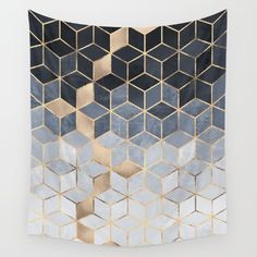Soft Blue Gradient Cubes Wall Tapestry