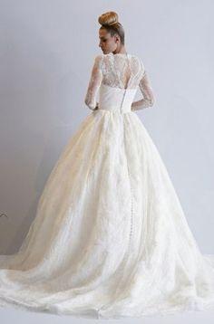 Bridal Gowns  Dennis Basso Princess Ball Gown Wedding Dress with V-Neck  Neckline and Natural Waist Waistline 60e373a78cbb