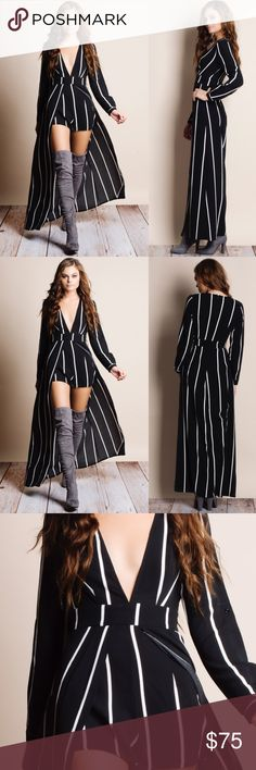 """Homage"" Striped Long Sleeve Maxi Romper Striped long sleeve maxi romper. This is an ACTUAL PIC of the item - all photography done personally by me. Model is 5'9"", 32""-24""-36"" wearing the size small. NO TRADES DO NOT BOTHER ASKING. PRICE FIRM. Bare Anthology Dresses Maxi"
