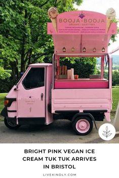 Dairy-free chocolate brand Booja-Booja has launched an ice cream tuk tuk. The bright pink cart is serving vegan ice cream in and around Bristol. Gelato Shop, Ice Cream Cart, Pink Truck, Ice Cream Brands, Food Vans, Retro Caravan, Food Truck Design, Vegan Milk, Chocolate Brands