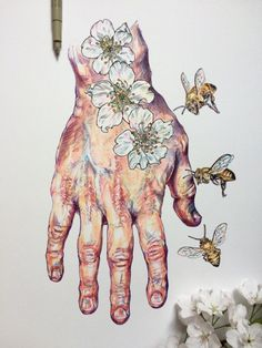 Artist Noel Badges Pugh (previously) creates studies of his own hands mixed with drawings of flowers and bees, adding co Art And Illustration, Medical Illustration, Art Inspo, Kunst Inspo, Portfolio D'art, Art Sketches, Art Drawings, Studios D'art, Hand Kunst