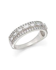 Baguette and Round Diamond Ring in 14K White Gold, 1.0 ct. t.w.