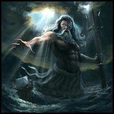 Poseidon: se representa con el tridente que es el arma por excelencia de los pescadores de atun , y montado en un carro arrastrado por animales mounstruososo como mitad caballo mitad serpiente. Este carro sea rodeado de peces , delfines , animales marinos de toda clase.