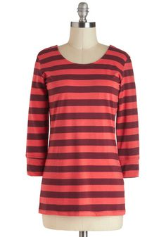 Cayenne I Call You? Top - Red, Orange, Stripes, Casual, 3/4 Sleeve, Jersey, Mid-length, Travel