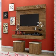 Modern furniture for television: 8 sensational ideas that you can easily adapt in your home! Tv Unit Decor, Tv Wall Decor, Room Decor, Wall Tv, Tv Unit Furniture, Modern Furniture, Furniture Ideas, Deco Tv, Lcd Panel Design