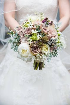 Just picked look bridal bouquet in blush and neutral tones with textural detail peonies, blush roses, dusty miller