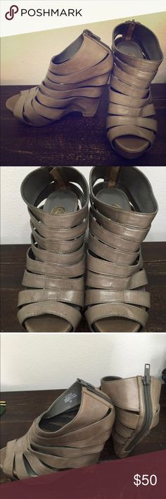 """Trendy slate wedges Awesome trendy grey """"stone slate"""" color wedges, Ash """"Lotus"""" sandal. In very good condition with some signs of light wear on bottom. Has leather straps and zip closure on back. Heel is about 5"""" with 1.5inch platform. Ash Shoes Wedges"""