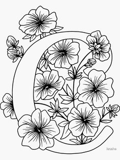 Printable Flower Coloring Pages, Pattern Coloring Pages, Flower Pattern Drawing, Floral Drawing, Floral Embroidery Patterns, Embroidery Designs, Different Lettering, Corona Floral, Embroidery Alphabet