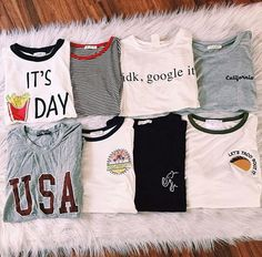 t-shirt these are my favourite 😍🙈 on We Heart It Blusas T Shirts, Summer Outfits, Casual Outfits, Teen Fashion, Womens Fashion, Mode Inspiration, Cute Shirts, Passion For Fashion, Dress To Impress