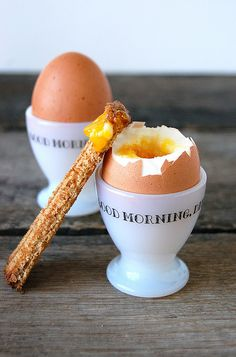 Soft boiled eggs and soldiers.