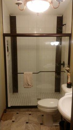 Copper and white guest bath