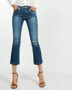 distressed high waisted bell crop jeans
